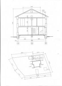 Разрез и размещение на участке